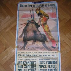 Carteles Toros: TALAVERA 1977 PAQUIRRI. Lote 26324642
