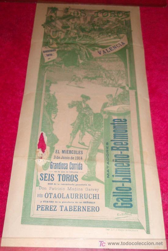 CARTEL TOROS VALENCIA , 1914 , GALLO LIMEÑO Y BELMONTE (Coleccionismo - Carteles Gran Formato - Carteles Toros)