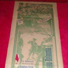Carteles Toros: CARTEL TOROS VALENCIA , 1914 , GALLO LIMEÑO Y BELMONTE. Lote 24314294