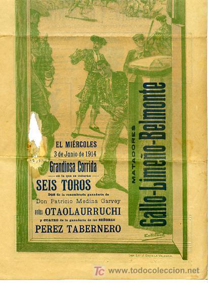 Carteles Toros: CARTEL TOROS VALENCIA , 1914 , GALLO LIMEÑO Y BELMONTE - Foto 3 - 24314294