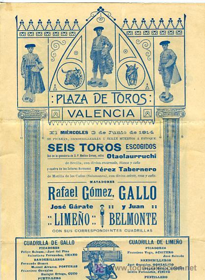Carteles Toros: CARTEL TOROS VALENCIA , 1914 , GALLO LIMEÑO Y BELMONTE - Foto 4 - 24314294