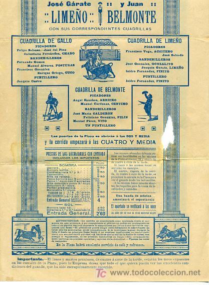 Carteles Toros: CARTEL TOROS VALENCIA , 1914 , GALLO LIMEÑO Y BELMONTE - Foto 5 - 24314294
