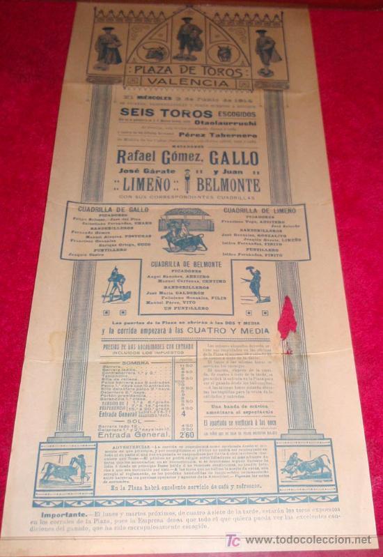 Carteles Toros: CARTEL TOROS VALENCIA , 1914 , GALLO LIMEÑO Y BELMONTE - Foto 6 - 24314294