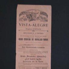 Carteles Toros: CARTEL DE TOROS DE VISTA-ALEGRE. . Lote 27285292
