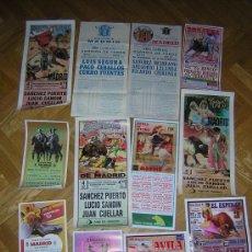 Carteles Toros: LOTE DE 12 CARTELES MADRID ,AVILA ,ESPINAR .SOSECA. Lote 37100628