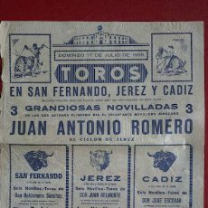 Carteles Toros: CARTEL DE TOROS DE SAN FERNANDO, JEREZ Y CÁDIZ.. Lote 26655432
