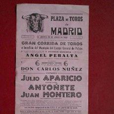 Affissi Tauromachia: CARTEL DE TOROS DE MADRID. 25 DE JUNIO DE 1953. JULIO APARICIO, ANTOÑETE Y JUAN MONTERO.. Lote 24855893