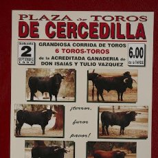 Carteles Toros: CARTEL DE TOROS DE CERCEDILLA.. Lote 25942467