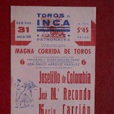 Affissi Tauromachia: CARTEL DE TOROS DE INCA.. Lote 17698248