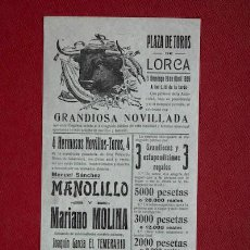 Carteles Toros: CARTEL DE TOROS DE LORCA.. Lote 17249480