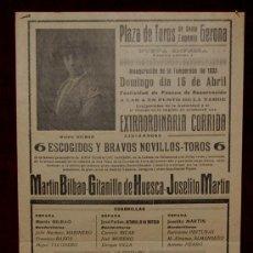 Carteles Toros: CARTEL TAURINO DEL AÑO 1933 PLAZA DE TOROS DE SANTA EUGENIA - GERONA. Lote 19214939