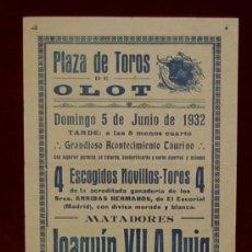 Carteles Toros: CARTEL TAURINO DEL AÑO 1932 PLAZA DE TOROS DE OLOT. Lote 22084066