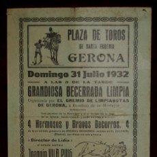 Carteles Toros: CARTEL TAURINO DEL AÑO 1932 PLAZA DE TOROS DE SANTA EUGENIA - GERONA. Lote 22059050