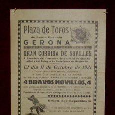 Carteles Toros: CARTEL TAURINO DEL AÑO 1931 PLAZA DE TOROS DE SANTA EUGENIA - GERONA. Lote 22340146