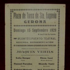 Carteles Toros: CARTEL TAURINO DEL AÑO 1929 PLAZA DE TOROS DE SANTA EUGENIA - GERONA. Lote 22084068