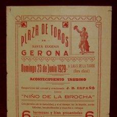 Carteles Toros: CARTEL TAURINO DEL AÑO 1929 PLAZA DE TOROS DE SANTA EUGENIA - GERONA. Lote 19308857