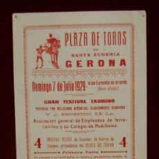Carteles Toros: CARTEL TAURINO DEL AÑO 1929 PLAZA DE TOROS DE SANTA EUGENIA - GERONA. Lote 21791739