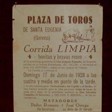 Carteles Toros: CARTEL TAURINO DEL AÑO 1928 PLAZA DE TOROS DE SANTA EUGENIA - GERONA. Lote 22340148