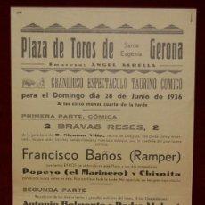 Carteles Toros: CARTEL TAURINO DEL AÑO 1936 PLAZA DE TOROS DE SANTA EUGENIA - GERONA. Lote 22157410