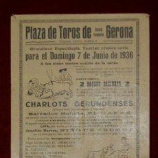 Carteles Toros: CARTEL TAURINO DEL AÑO 1936 PLAZA DE TOROS DE SANTA EUGENIA - GERONA. Lote 22084072