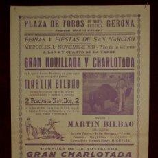 Carteles Toros: CARTEL TAURINO DEL AÑO 1939 PLAZA DE TOROS DE SANTA EUGENIA - GERONA. Lote 22084071