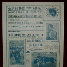 Carteles Toros: CARTEL TAURINO DEL AÑO 1940 PLAZA DE TOROS DE SANTA EUGENIA - GERONA. Lote 23887466