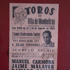 Carteles Toros: CARTEL DE TOROS DE VILLA DE MOMBELTRÁN.. Lote 23033867
