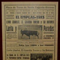 Carteles Toros: CARTEL TAURINO DEL AÑO 1930 PLAZA DE TOROS DE SANTA EUGENIA - GERONA. Lote 22059010