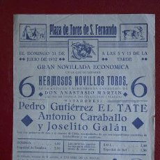 Carteles Toros: CARTEL DE TOROS DE SAN FERNANDO.. Lote 11944632