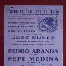 Affissi Tauromachia: CARTEL DE TOROS DE SAN JOSÉ DEL VALLE.. Lote 21586369
