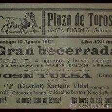 Carteles Toros: CARTEL TAURINO DE MANO DEL AÑO 1935 PLAZA DE TOROS DE SANTA EUGENIA - GERONA. Lote 43576175