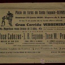 Carteles Toros: CARTEL TAURINO DE MANO DEL AÑO 1929 PLAZA DE TOROS DE SANTA EUGENIA - GERONA. Lote 22084069
