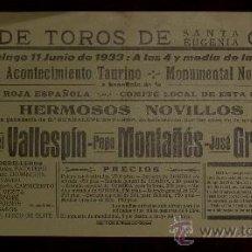 Carteles Toros: CARTEL TAURINO DE MANO DEL AÑO 1933 DE LA PLAZA DE TOROS DE GERONA.. Lote 22157445