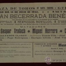 Carteles Toros: CARTEL TAURINO DE MANO DEL AÑO 1932 DE LA PLAZA DE TOROS DE GERONA.. Lote 19308842
