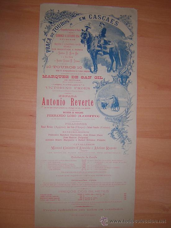 PLAZA DE TOROS DE CASCAES DE PORTUGAL 14 DE OCTUBRE 1894 (Coleccionismo - Carteles Gran Formato - Carteles Toros)