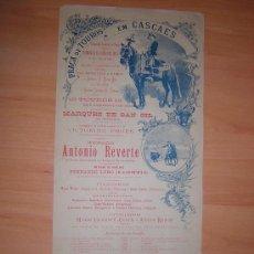 Carteles Toros: PLAZA DE TOROS DE CASCAES DE PORTUGAL 14 DE OCTUBRE 1894. Lote 26374778