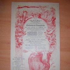 Carteles Toros: PLAZA DE TOROS DE ALEGRIA 23 DE JULIO DE 1905. Lote 26501678