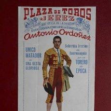Carteles Toros: CARTEL DE TOROS DE JEREZ.XII FIESTA DE LA VENDIMIA Y FERIA DE SEPTIEMBRE DE 1959. ANTONIO ORDÓÑEZ. Lote 50089682