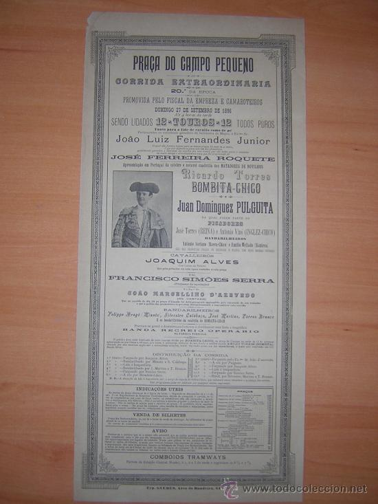 PLAZA DE TOROS DE CAMPO PEQUENO 1896 PORTUGAL (Coleccionismo - Carteles Gran Formato - Carteles Toros)