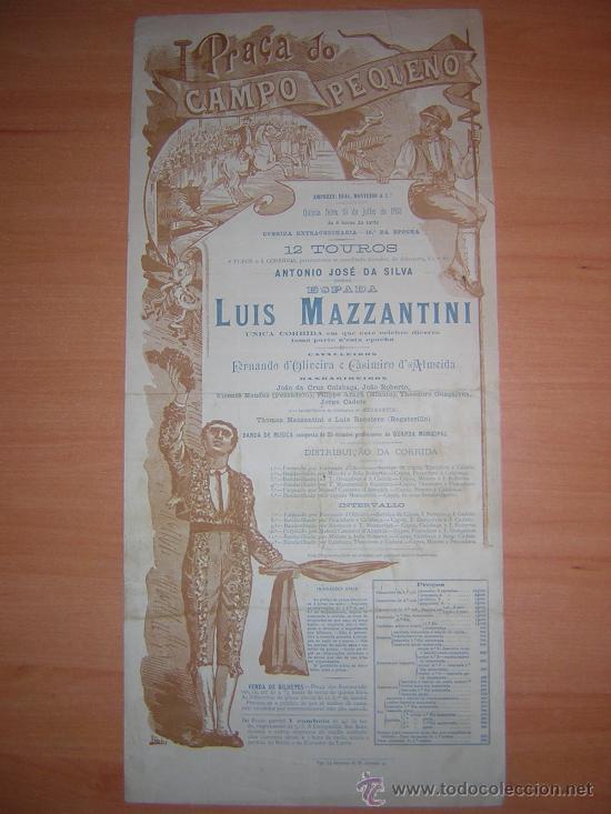 PLAZA DE TOROS DE CAMPO PEQUENO 1893 PORTUGAL MAZZANTINI SOLO (Coleccionismo - Carteles Gran Formato - Carteles Toros)