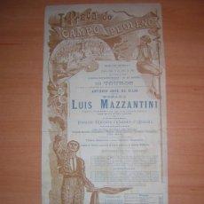Carteles Toros: PLAZA DE TOROS DE CAMPO PEQUENO 1893 PORTUGAL MAZZANTINI SOLO. Lote 27047760
