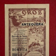 Carteles Toros: CARTEL DE TOROS DE ANTEQUERA.. Lote 21627628