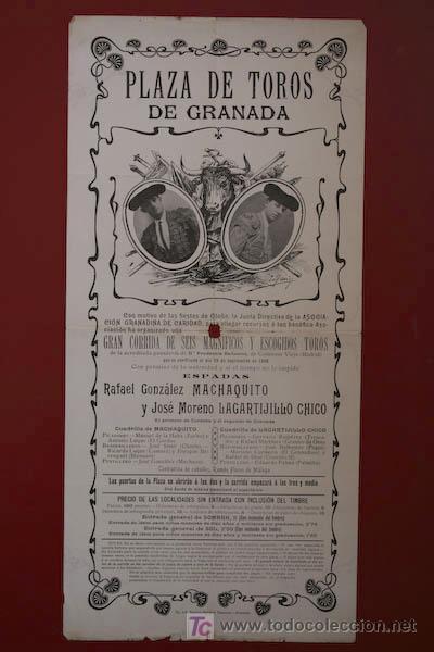 CARTEL DE TOROS DE GRANADA. 29 DE SEPTIEMBRE DE 1908. MACHAQUITO, LAGARTIJILLO CHICO. (Coleccionismo - Carteles Gran Formato - Carteles Toros)