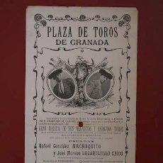 Carteles Toros: CARTEL DE TOROS DE GRANADA. 29 DE SEPTIEMBRE DE 1908. MACHAQUITO, LAGARTIJILLO CHICO.. Lote 13744851