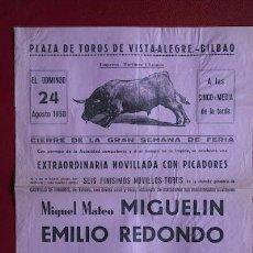 Carteles Toros: CARTEL DE TOROS DE VISTA-ALEGRE. BILBAO.. Lote 24351972