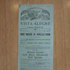 Carteles Toros: CARTEL DE TOROS DE VISTA-ALEGRE.. Lote 24243839