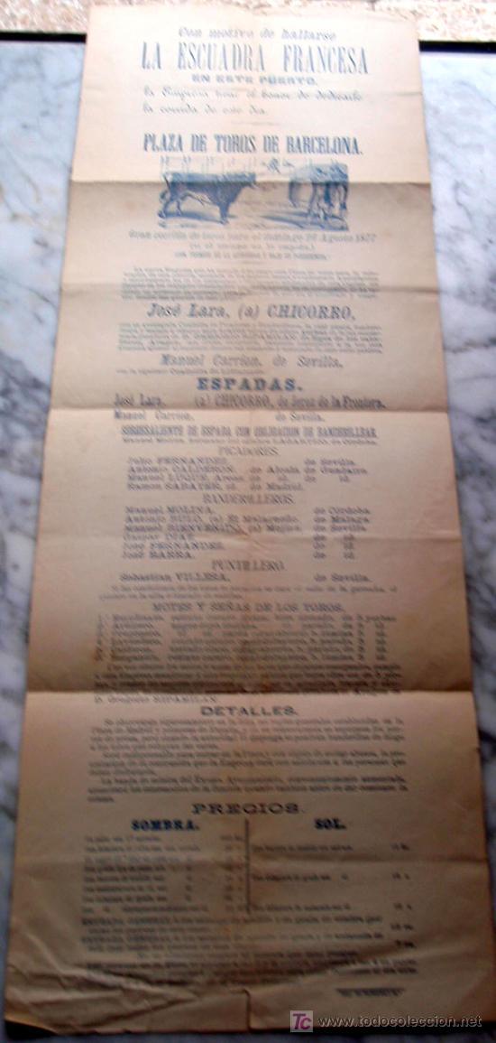 CARTEL TOROS BARCELONA , 1877, MOTIVO VISITA DE LA ESCUADRA FRANCESA, (Coleccionismo - Carteles Gran Formato - Carteles Toros)