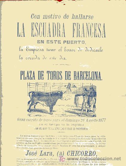 Carteles Toros: CARTEL TOROS BARCELONA , 1877, MOTIVO VISITA DE LA ESCUADRA FRANCESA, - Foto 2 - 19562075