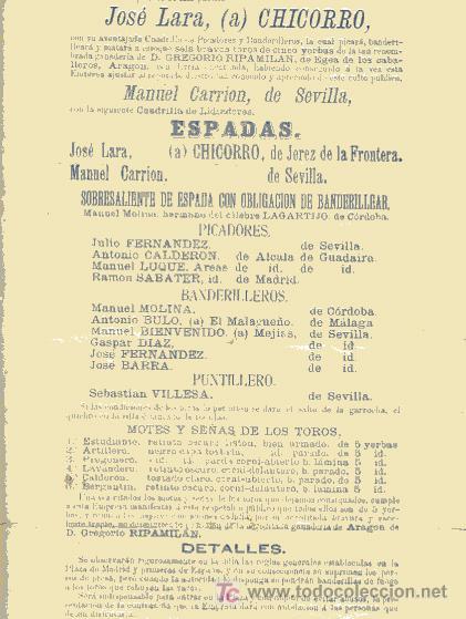 Carteles Toros: CARTEL TOROS BARCELONA , 1877, MOTIVO VISITA DE LA ESCUADRA FRANCESA, - Foto 3 - 19562075