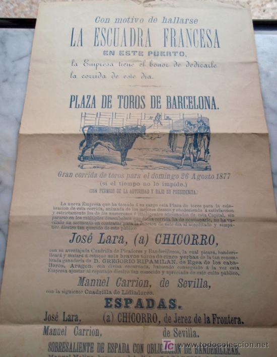 Carteles Toros: CARTEL TOROS BARCELONA , 1877, MOTIVO VISITA DE LA ESCUADRA FRANCESA, - Foto 5 - 19562075